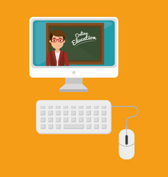 Teacher man with desktop education online vector