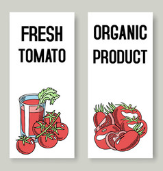 tomato fresh juice background set banners vector image