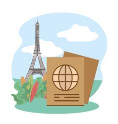 Tower eiffel passport tourist vacation travel vector
