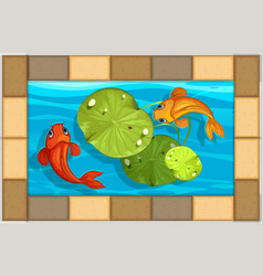 Two fish swimming in small pool vector