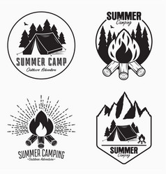vintage summer camp logo set camping badges and vector image