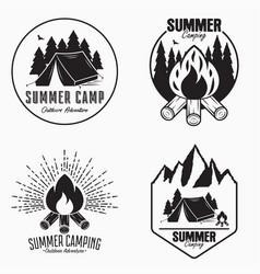 vintage summer camp logo set camping badges vector image