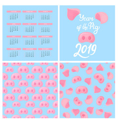 wall calendar for 2019 chinese new year of the vector image