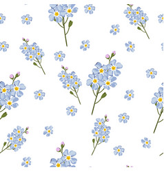 Watercolor style forget-me-not flowers pattern vector
