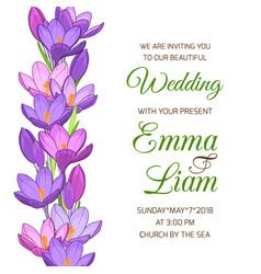 Wedding invitation spring crocus flower garland vector