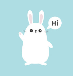 white bunny rabbit waving hand talking thinking vector image