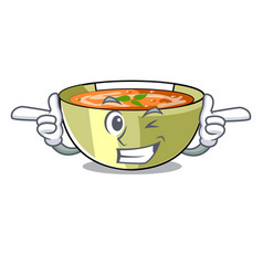 Wink cartoon lentil soup ready to served vector