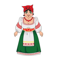woman in a russian national costume vector image