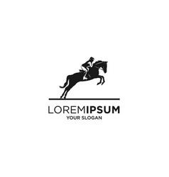 woman jockey silhouette logo vector image