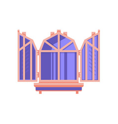 wooden window with shutters architectural design vector image