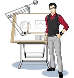 Young Asian architect student presenting his vector