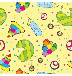 A variety of childrens toys vector image vector image