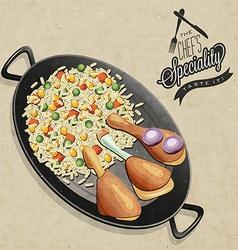 Chicken paella dish vector image