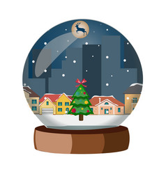 christmas snowball with winter city vector image