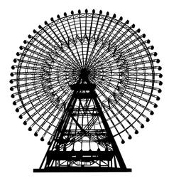 ferris wheel silhouette vector image vector image