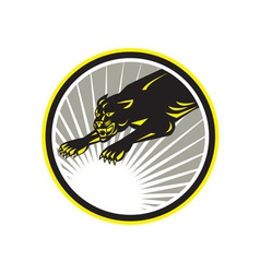 Panther Big Cat Growling Circle vector image
