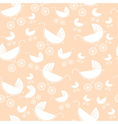 Seamless pattern of baby strollers vector