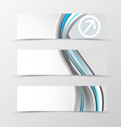 Set of header banner dynamic wave design vector image vector image