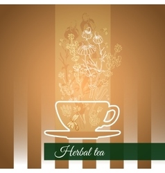 Silhouette cup flowers and leaves vector image