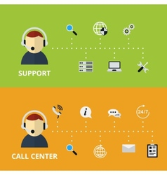 Support and Call Center Concept vector image