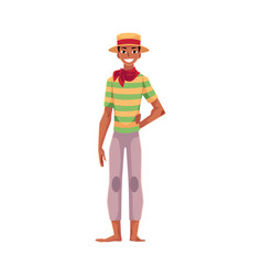 brazilian man in straw hat traditional festa vector image