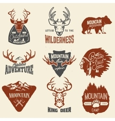Set of outdoors adventures mountains exploration vector image