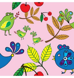 autumn bird and fruit pattern vector image vector image