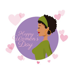 Happy womens day girl curly hair card purple vector