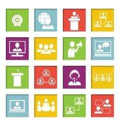 Meet People Online Icons Set vector image vector image