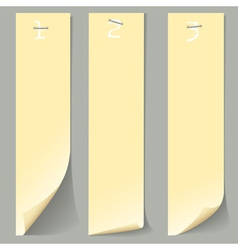 Three vertical numbered paper banners vector image