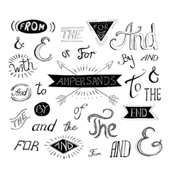 Vintage style hand lettered ampersands and vector image vector image