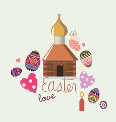 white easter card with a small churchlet vector image vector image