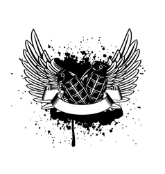 wings with grenade vector image