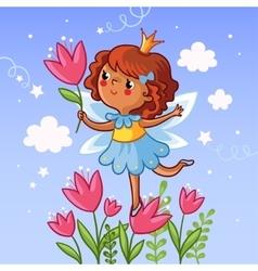 Cute little girl on a flower vector image