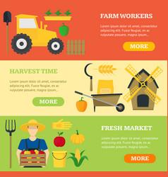farming banner card horizontal set vector image
