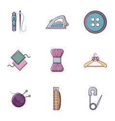 knitting icons set flat style vector image vector image