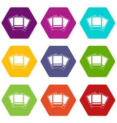 photos icon set color hexahedron vector image