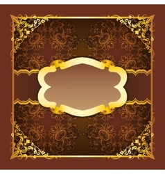 Royal frame with ribbons on seamless ornament vector image vector image