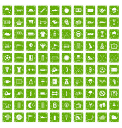 100 golf icons set grunge green vector image