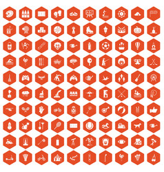 100 kids activity icons hexagon orange vector image