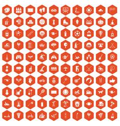 100 kids activity icons hexagon orange vector