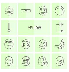 14 yellow icons vector