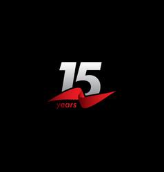 15 years anniversary celebration white black red vector