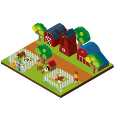 3d design for farm scene with animals and barns vector