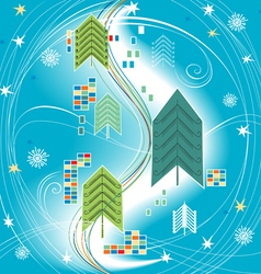 abstract christmas background on blue for design vector image