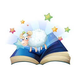 An open book with an image of a sheep vector image vector image