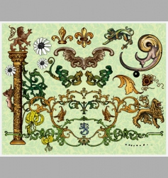 Antique decoration elements vector