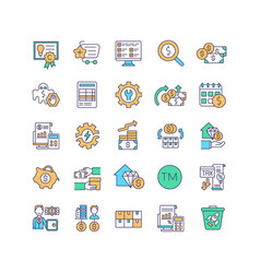 Asset management rgb color icons set vector