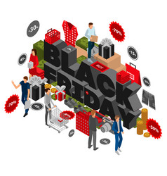 autumn black friday concept background isometric vector image