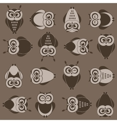 background with brown owls vector image